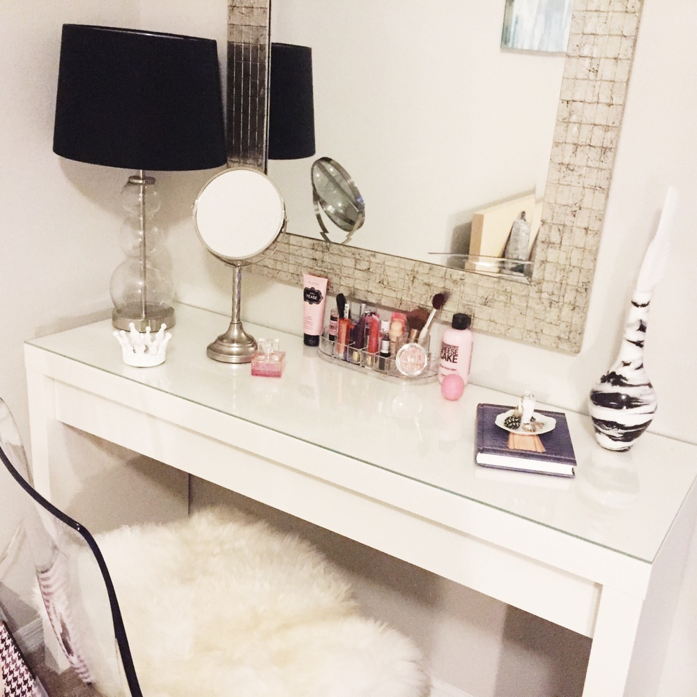 I finally got a vanity, which means no more smashed up makeup!