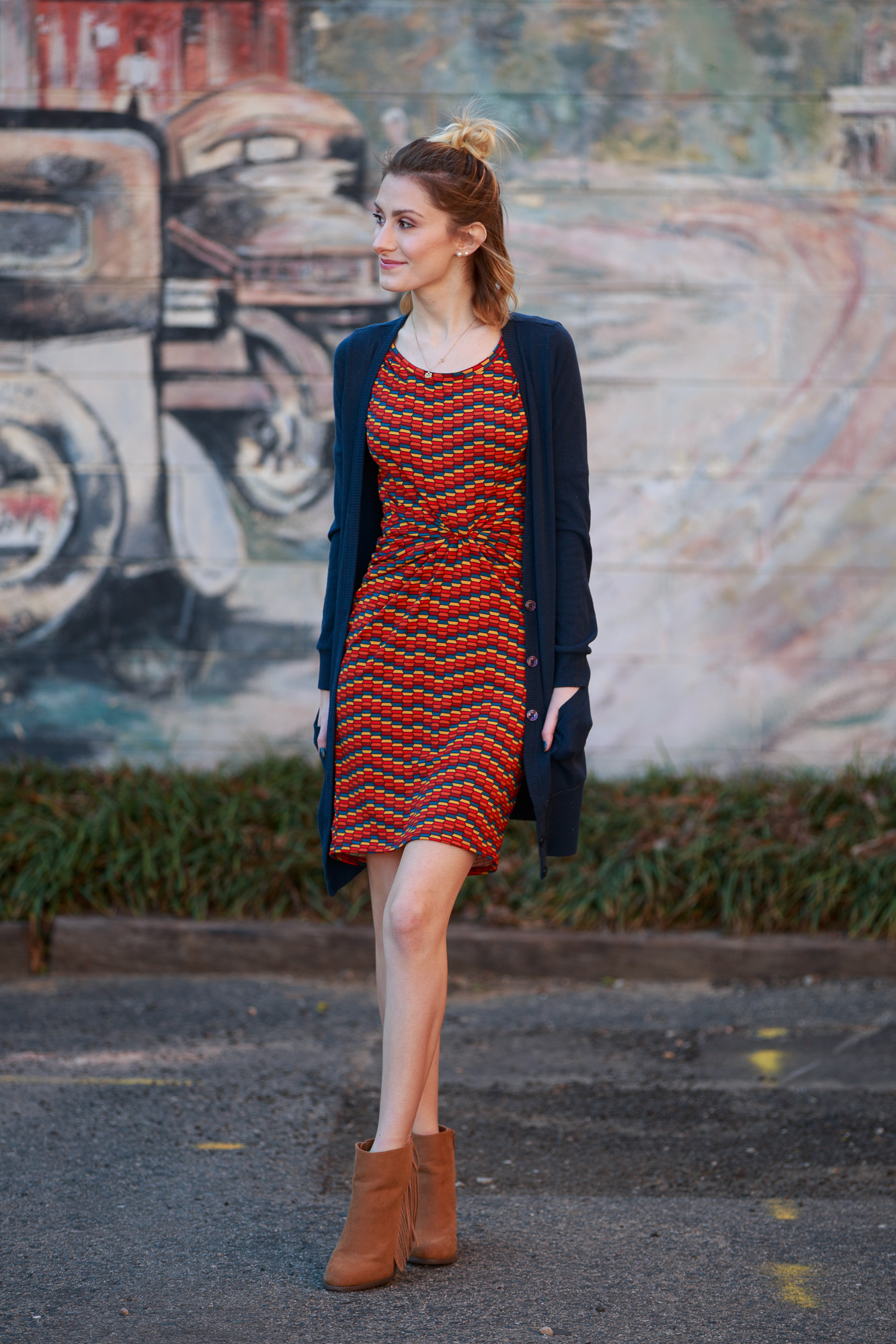 LulaRoe Julia Dress By Angela Lang photo shoot in Historic Downtown Cary North Carolina