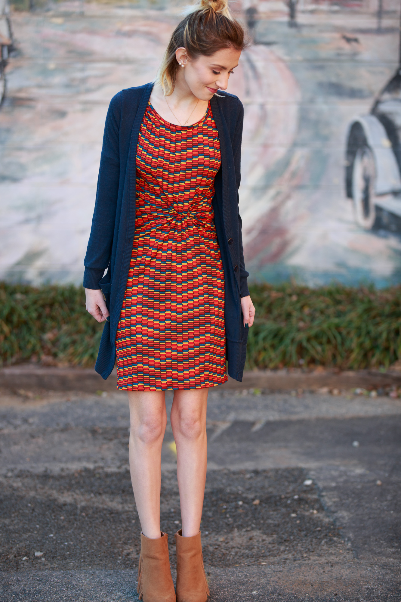 LulaRoe Julia Dress Red Yellow and Blue Pattern