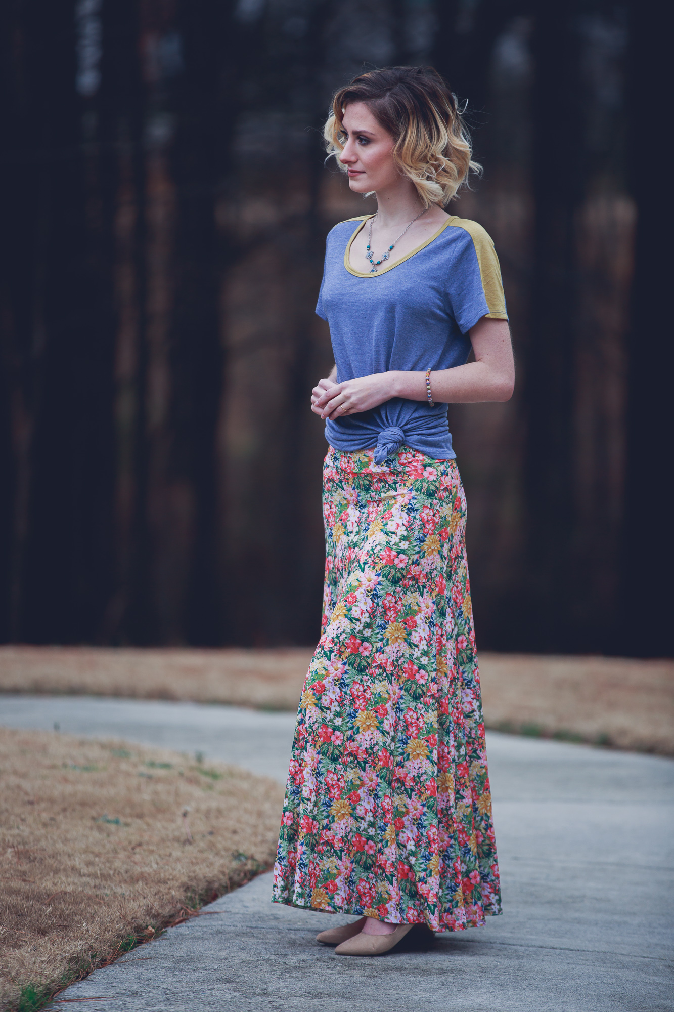 Fashion blog photo of Jessica Linn wearing a maxi shirt and tee shirt from Lula Roe Life by Angela Lange