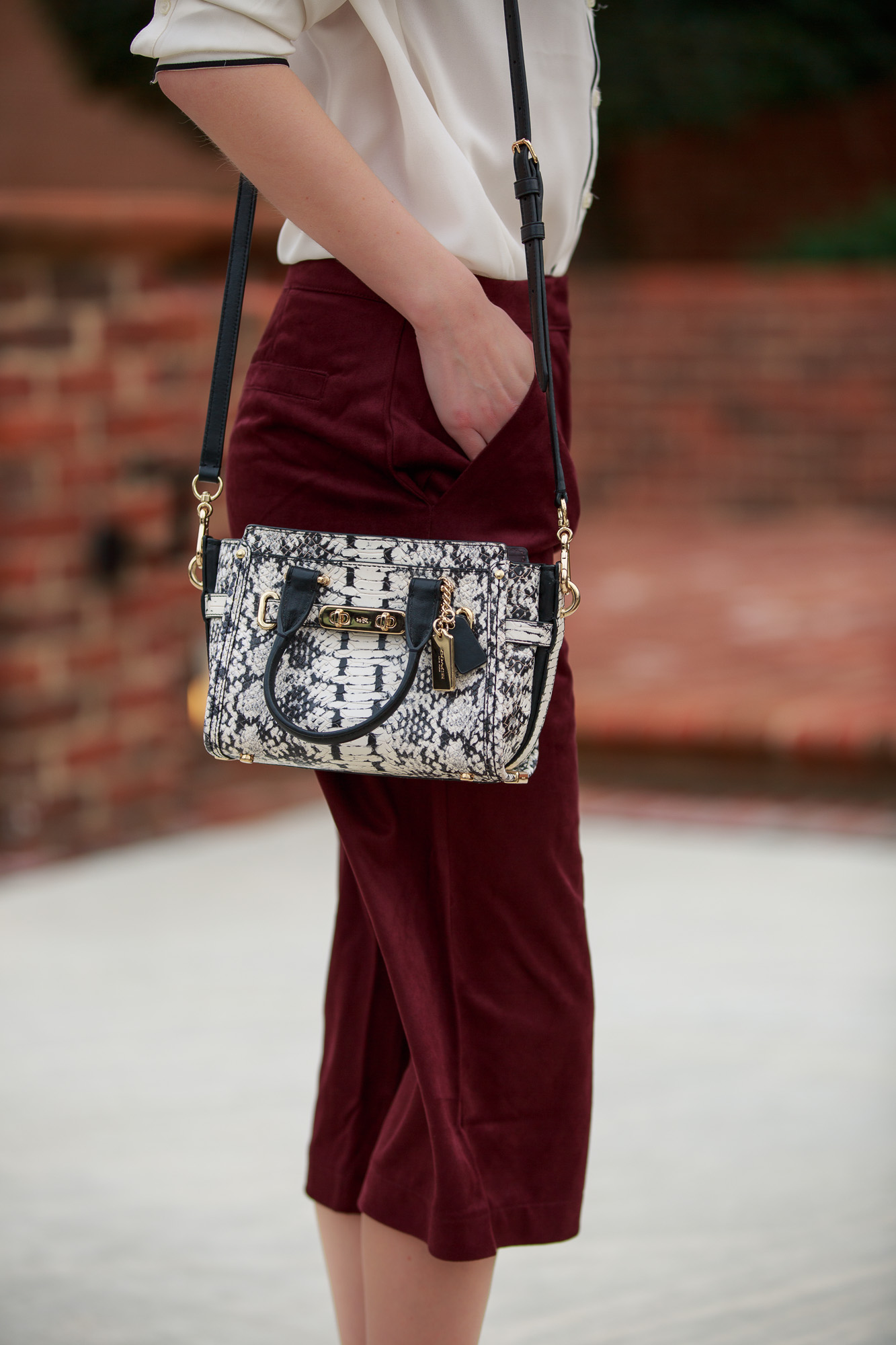 Fashion Blogger Jessica Linn wearing Forever21 and Express paired with a Coach Bag and ASOS heels