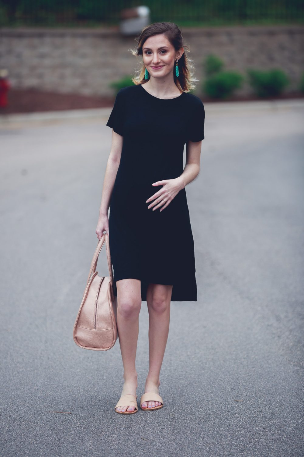 T-Shirt Dress With a Pop of Turquoise