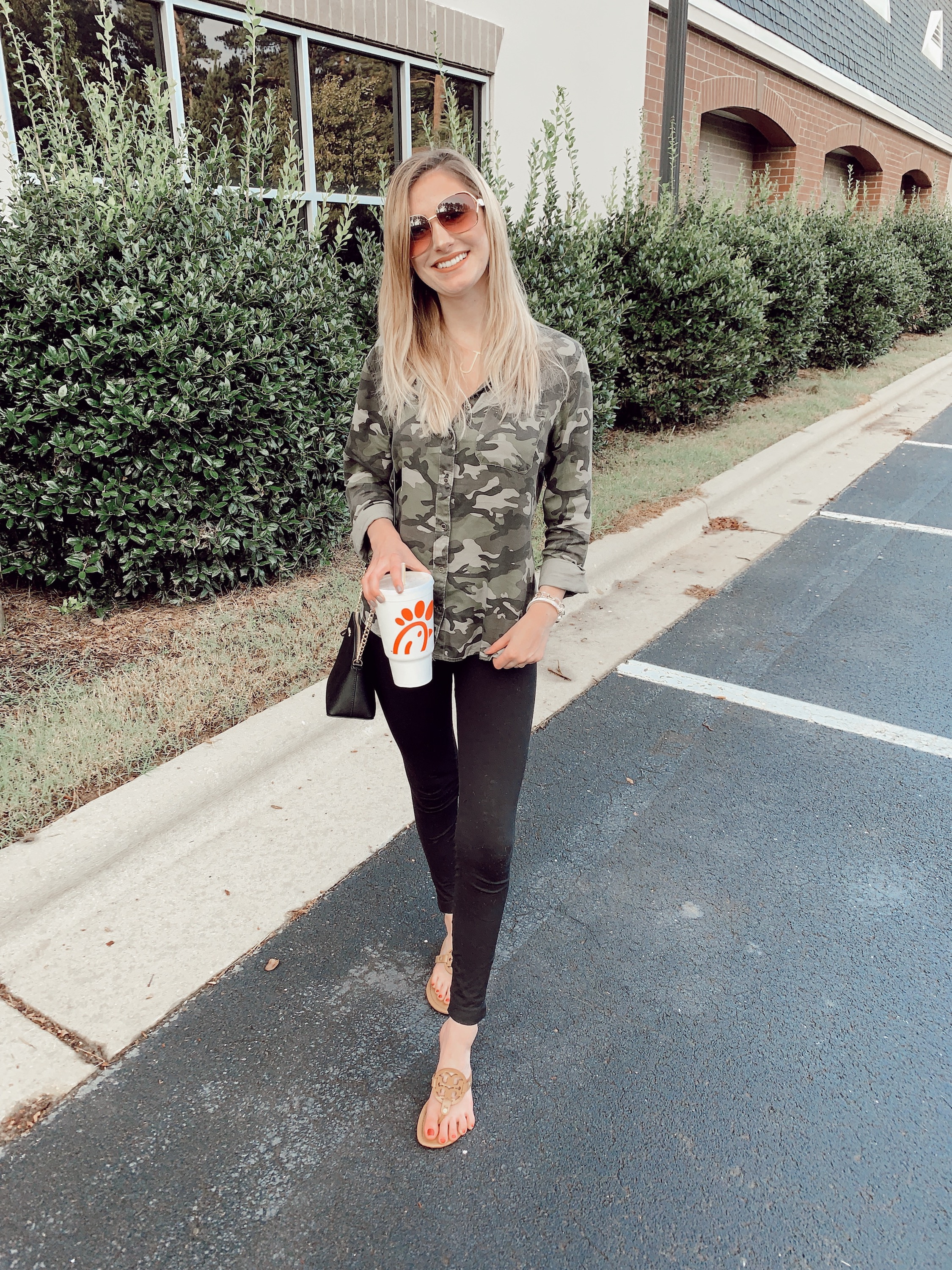 Casual Style | Camo button up top from Walmart, black leggings, and Tory Burch sandals | North Carolina Fashion & lifestyle blogger, Jessica Linn, sharing an Instagram post roundup on Linn Style.