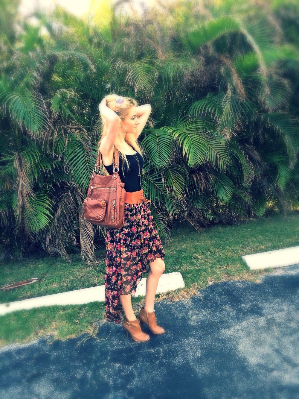 High-Low Floral Skirt | Florida Trip OOTD