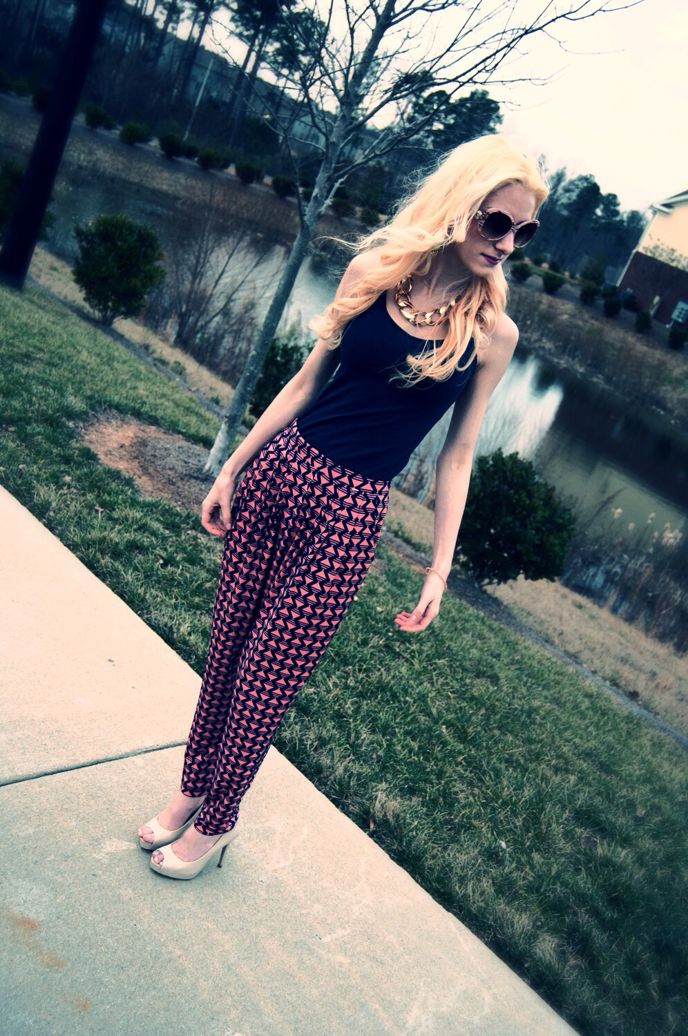 Coral, Navy, and Harem Pants- Oh My!
