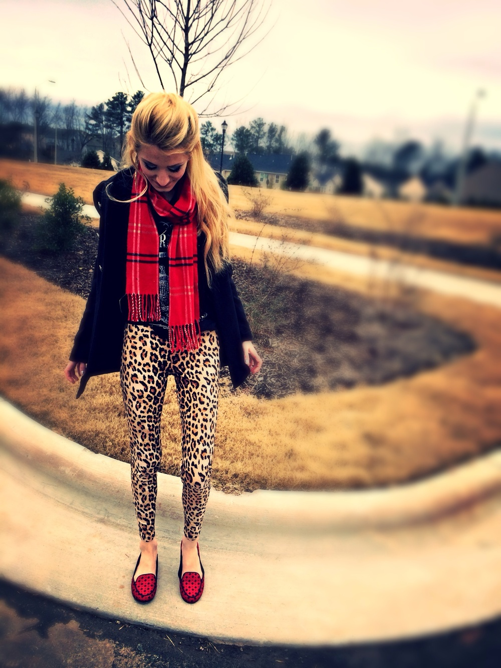 Leopard print and red plaid pattern mixing. By fashion and lifestyle blogger Jessica Linn.