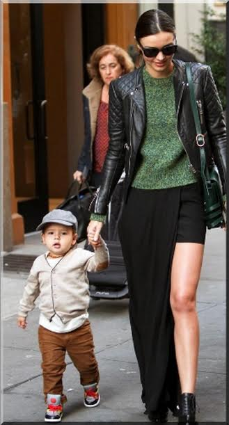 Looks like her son is a miniature model in the making. What a stylish little guy.