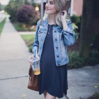 Lifestyle, fashion, and beauty blogger and vlogger Jessica Linn from Linn Style wearing a Forever21 t-shirt dress, and pair of blue shoes with embroidered florals and a denim jacket from Highway Jeans from Ross. Pregnant Maternity