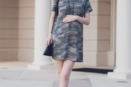 Lifestyle Fashion and beauty blogger Jessica Linn from Linn Style wearing a Forever21 sweater dress and Michael Kors purse in downtown Raleigh North Carolina. Non-maternity maternity outfits. Camo sweater dress