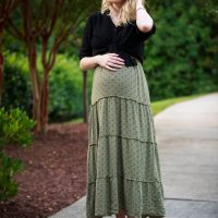 Maternity Style outfit inspiration by North Carolina fashion and lifestyle blogger Jessica Linn from Linn Style. Olive green maxi dress from Target, black button up blouse from Forever21, Necklace from Francesca's, and Tory Burch sandals