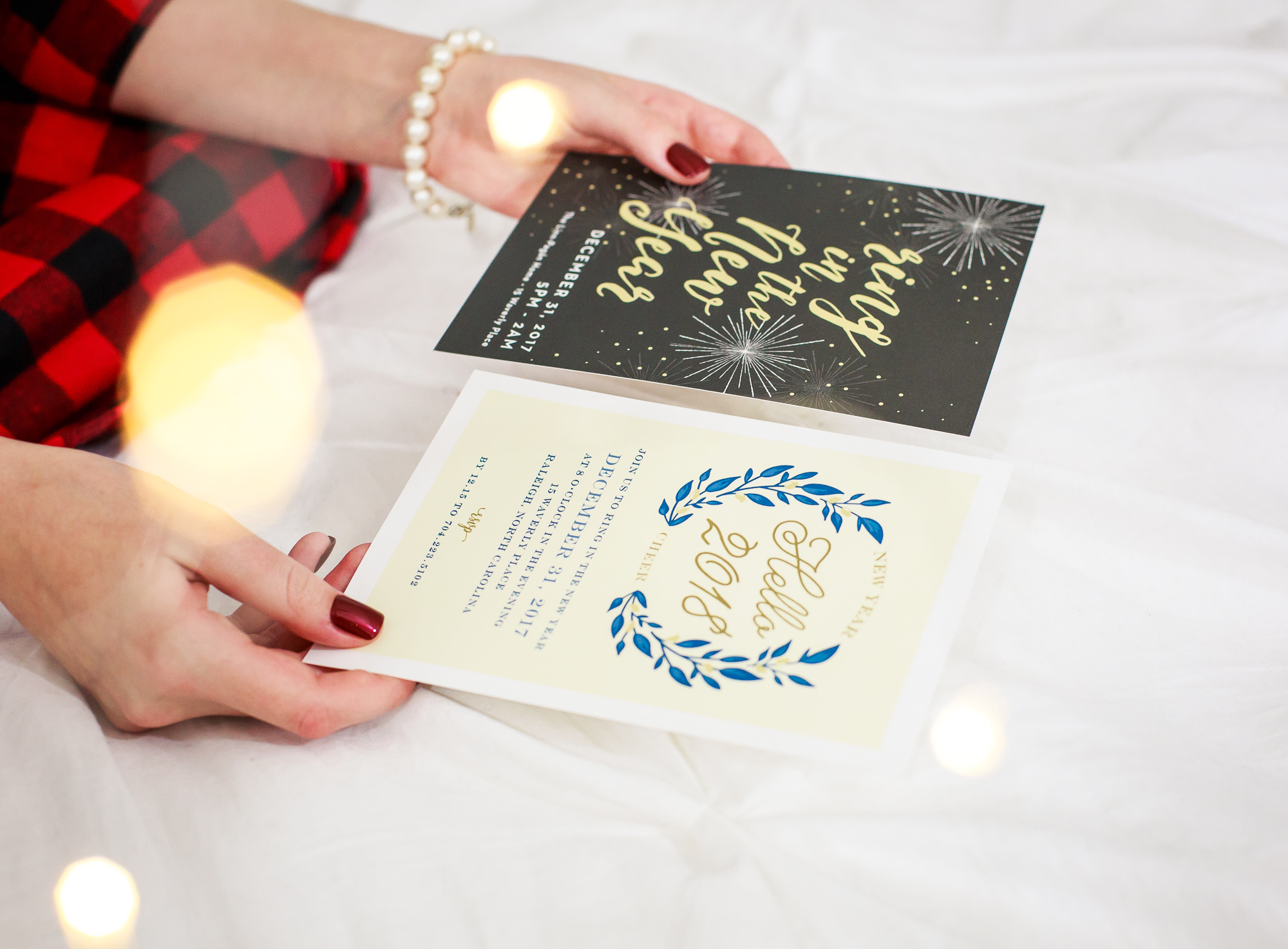 Basic Invite elegant Christmas party and New Years Eve Holiday Party Invitations. Customizable stationary, cards, invitations for any event or holiday. Blog post by fashion and lifestyle blogger Jessica Linn from Linn Style.