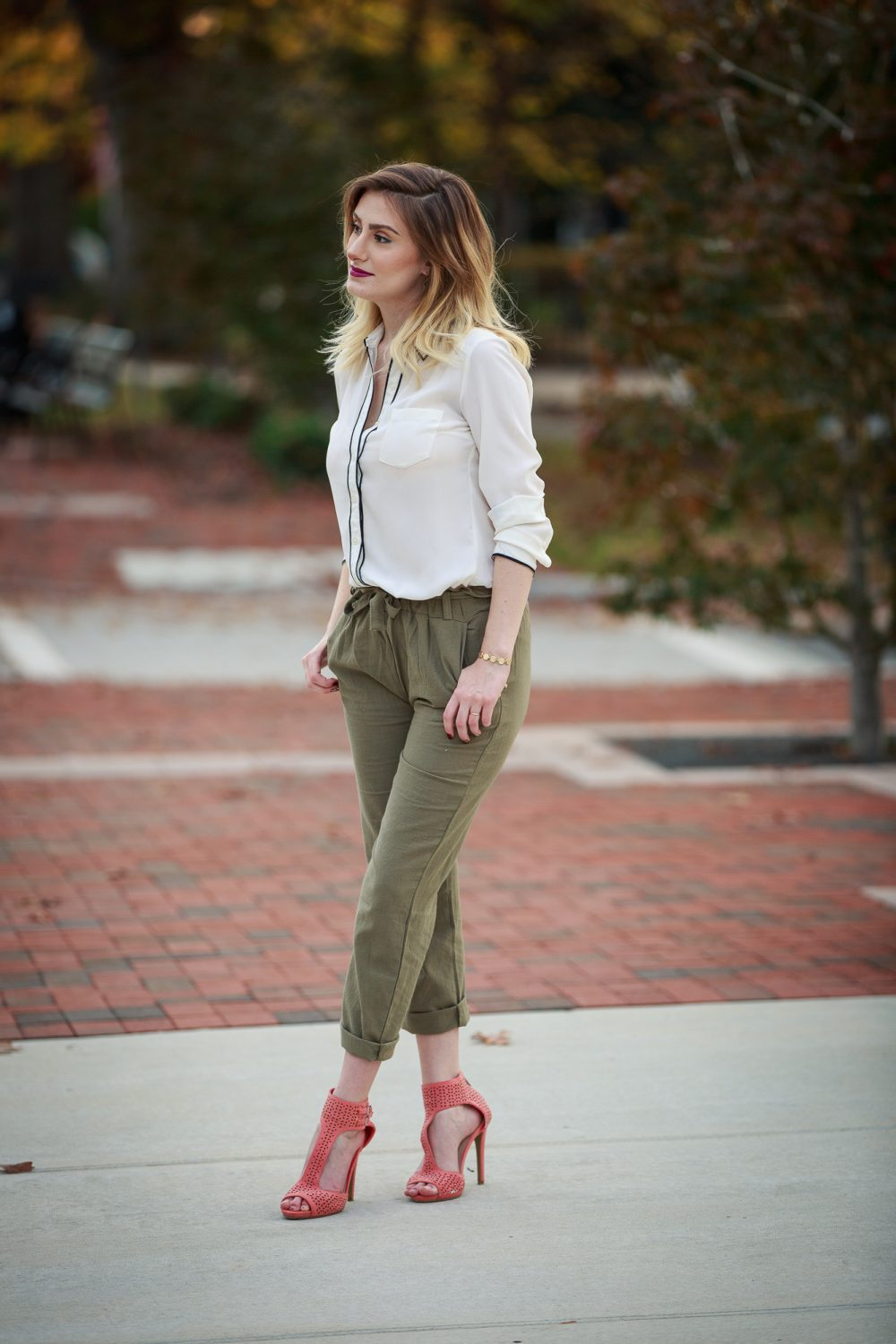 Olive High-Waisted Pants | Postpartum Style Tips