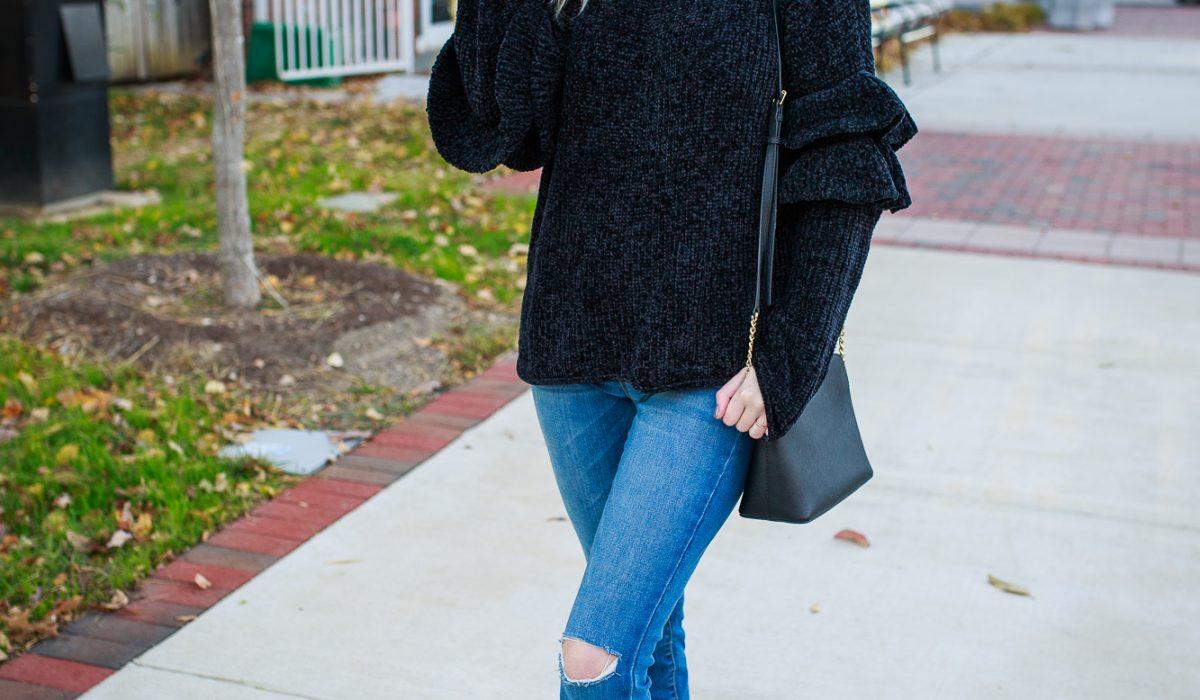 Chenile Ruffle Sleeves on. North Carolina lifestyle and fashion blogger Jessica Linn