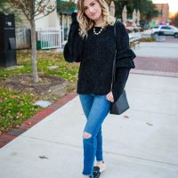Chenile Ruffle Sleeves on. North Carolina lifestyle and fashion blogger Jessica Linn