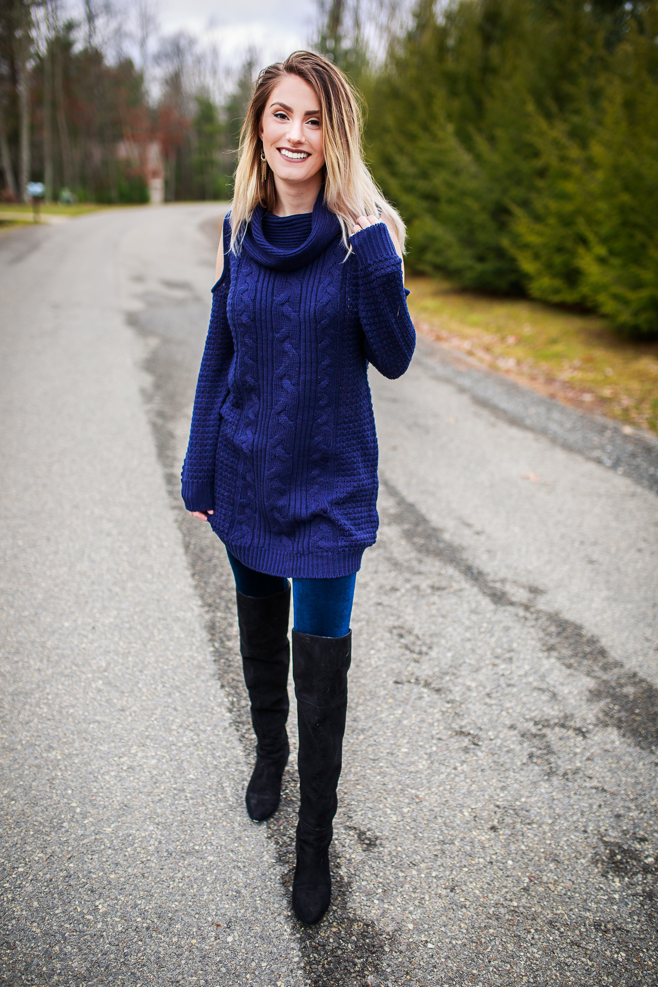 fe284ebad55b Ways to Wear A Loose Knit Sweater Dress  Velvet Leggings- Style inspiration  by North