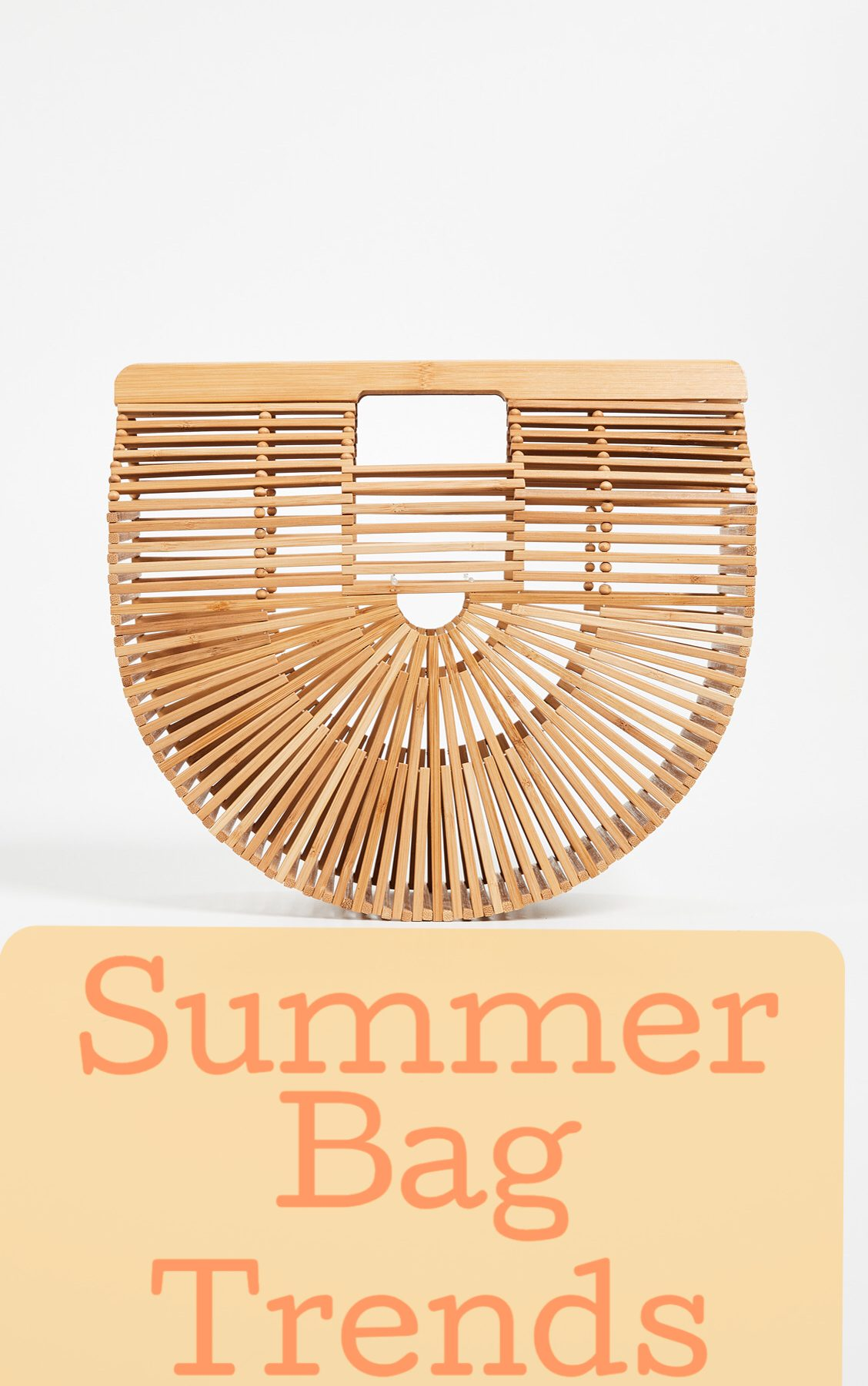 The Bag Trend that everyone is wearing in spring and summer 2018. Bamboo and wicker bags are on trend. The original was the Cult Gaia Ark Bamboo Bag and it has inspired many more styles by various brands at inexpensive prices. Every fashion blogger has a various version of the bamboo or wicker bag.