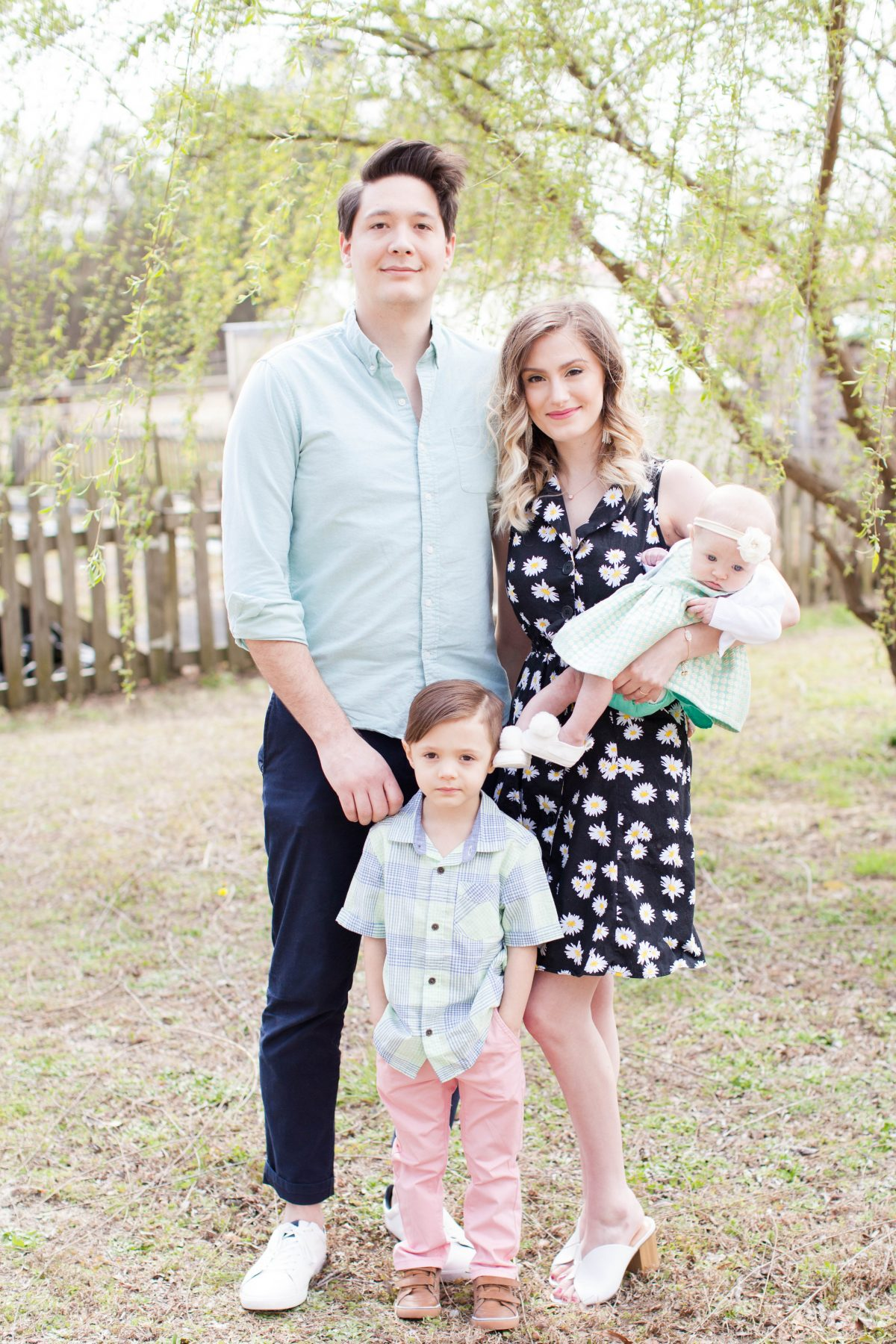 North Carolina fashion and lifestyle blogger and writer Jessica Linn in Valentine Fields Farm in Knightdale NC. Spring and Easter family photography by Hayley Gastiger a local North Carolina photographer.