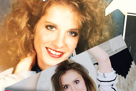 North Carolina beauty, fashion, and lifestyle blogger and Youtuber Jessica Linn recreating a 1980's hair and makeup look form her mom's glamor shots.