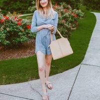 The cutest summer romper! North Carolina fashion and lifestyle blogger Jessica Linn wearing the seasons hottest trend: Rompers and jumpsuits are every stylish persons go to look this summer. This little gray romper can be purchased on copperbloom.com. Jessica styled the romper with beaded sandals, a beige tote, and teal Baublebar earrings from Target. Photo editing using Christine Andrews (Hello Fashion Blog) mobile presets.