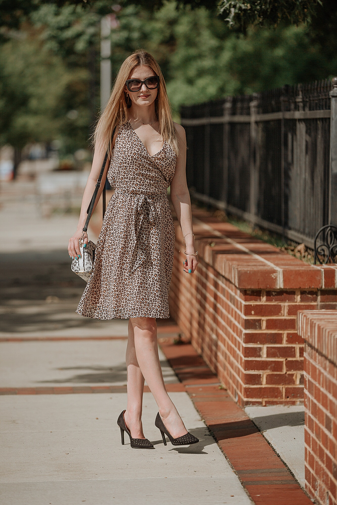 Fall 2018 Trends- animal print trend, leopard print dress from Target with a snake skin purse from Coach, and Christian Siriano heels.