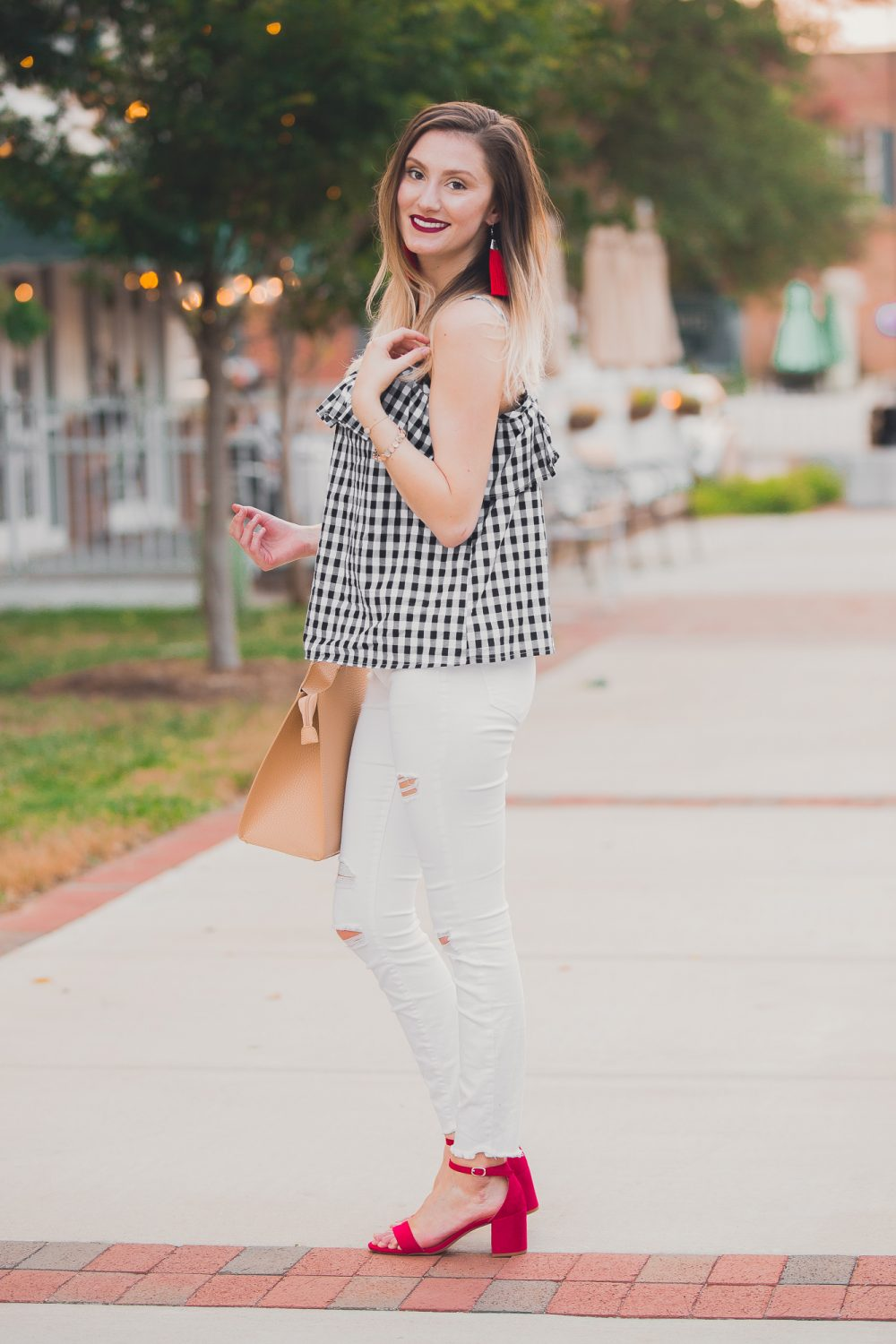 Gingham Cami & White Denim | Affordable Summer Fashion
