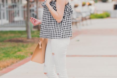 Gingham ruffle cami from Target, white denim, an da pop of red heels and earrings. Affordable summer fashion by popular North Carolina fashion blogger Jessica Linn from Linn style. North Carolina fashion bloggers