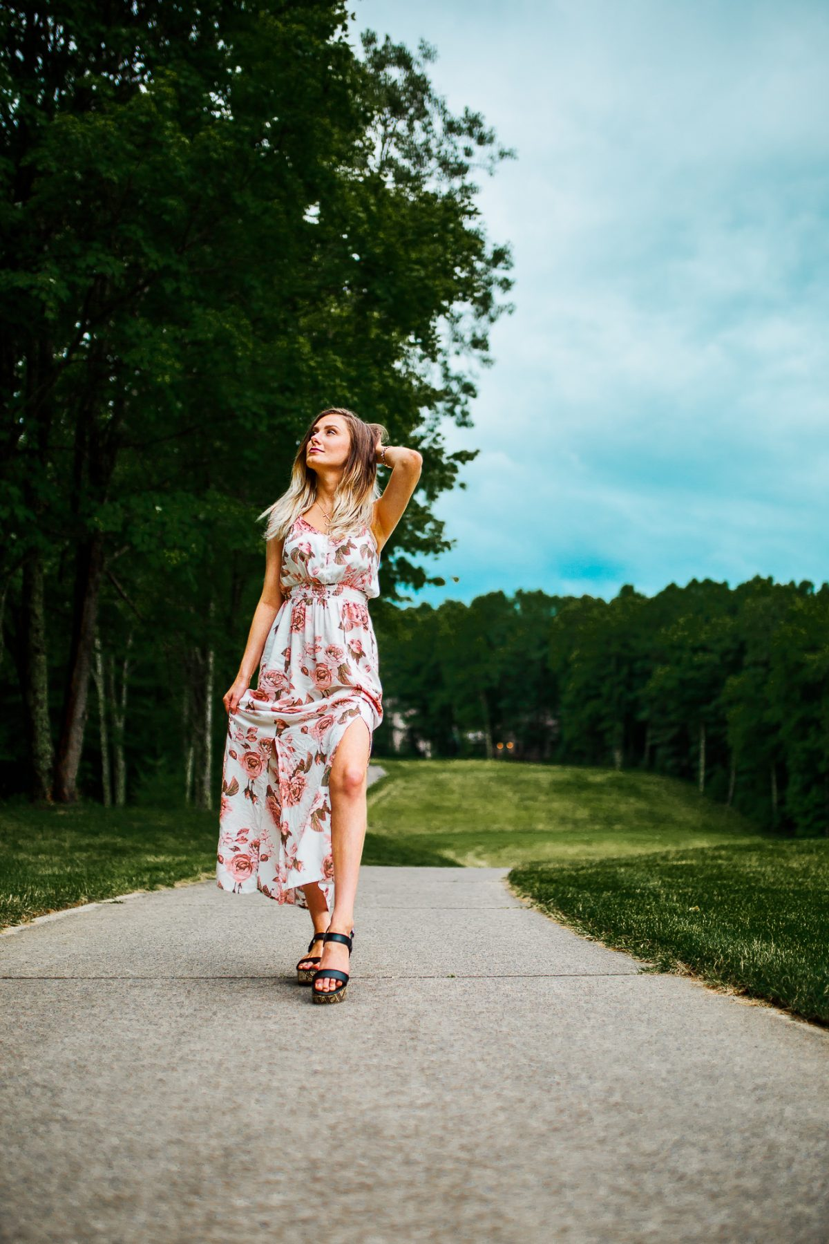 Summer Floral Print Maxi Dress, Leather Earrings, an dGold Initial Necklace | Summer Outfit Inspiration by North Carolina fashion and lifestyle blogger Jessica Linn
