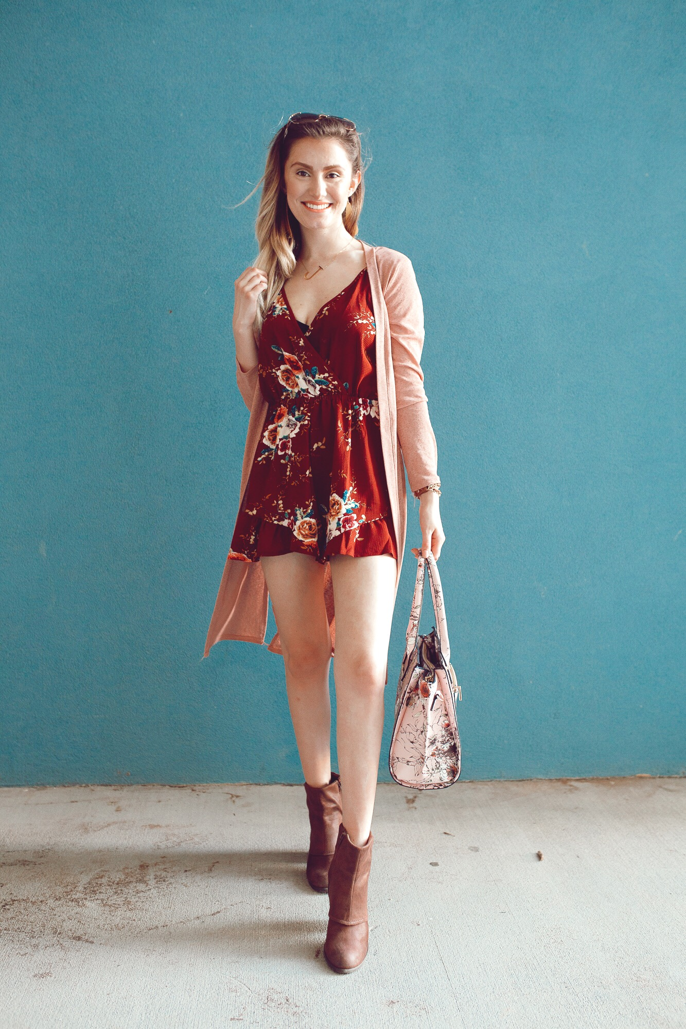 db846db9ba96 Summer to fall transition outfit by popular North Carolina fashion blogger  Jessica Linn. Burgundy floral