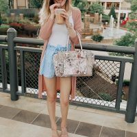 Summer outfit styled by North Carolina fashion blogger Jessica Linn. Blue and white gingham shorts from Copper Bloom, White tank top, pink cardigan from Romwe, Purple floral purse from TJ Maxx, and heels.