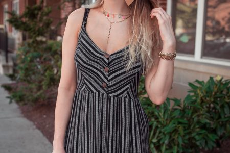 North Carolina fashion and lifestyle blogger Jessica Linn styling a navy striped jumpsuit from Forever21, platform sandals from Target, a layered tassel chocker from bauble bar, and vegan leather earrings from RSA Studios.