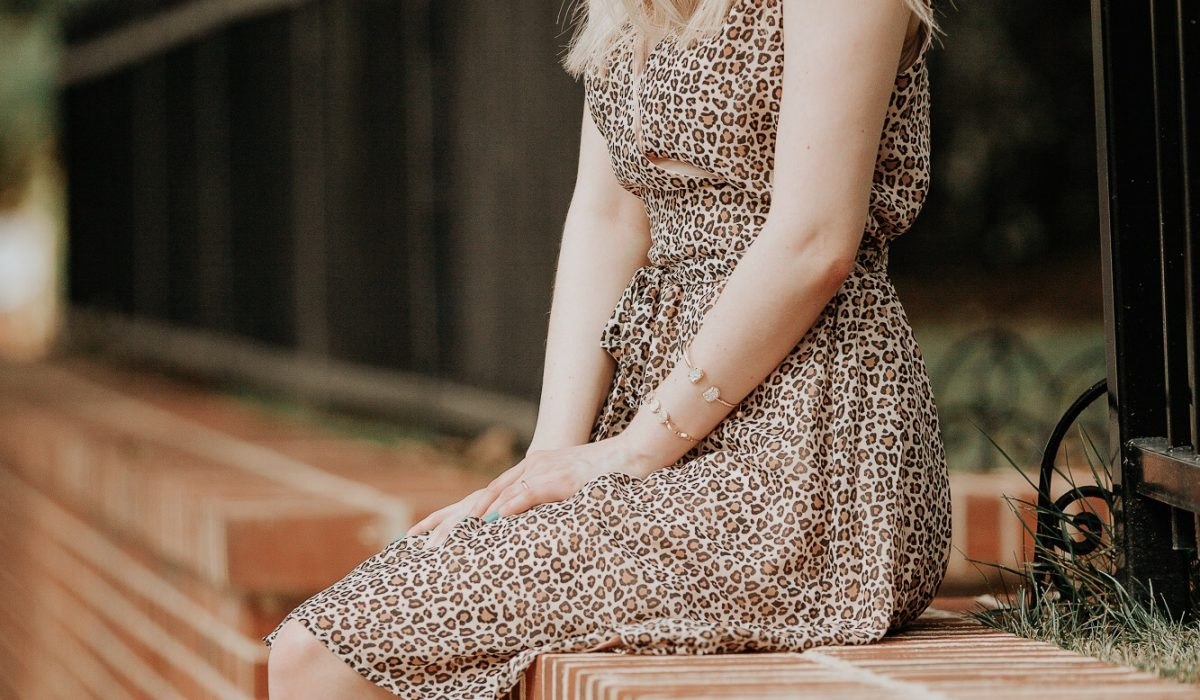 Affordable leopard print midi sleeveless dress from Target, black studded heels by Christian Siriano for Payless, and a black and white snake skin purse from Coach. Fashion inspiration by North Carolina fashion and lifestyle blogger Jessica Linn from Linn Style
