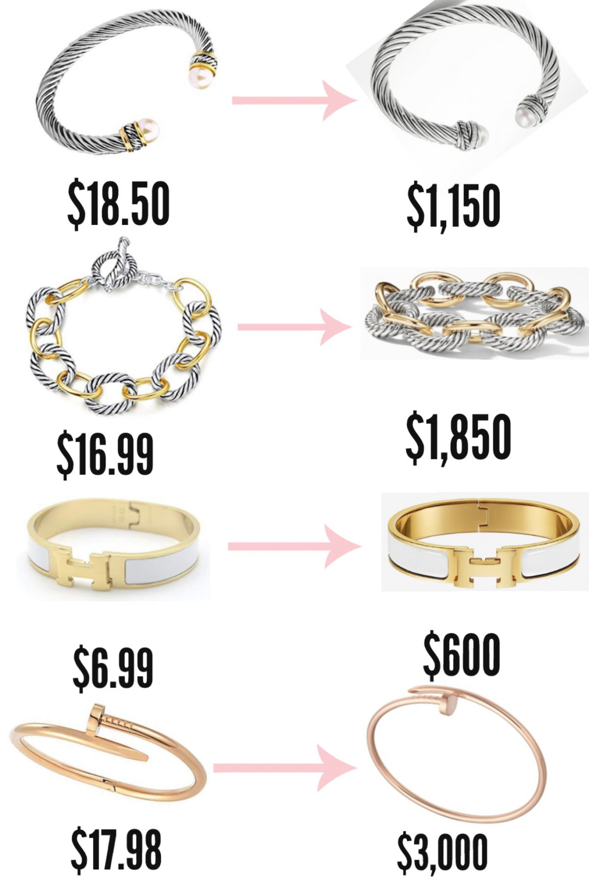 The Best Designer Jewelry Dupes On Amazon | North Carolina fashion and lifestyle blogger Jessica Linn sharing David Yurman, Cartier, and Hermes designer dupes available on Amazon.