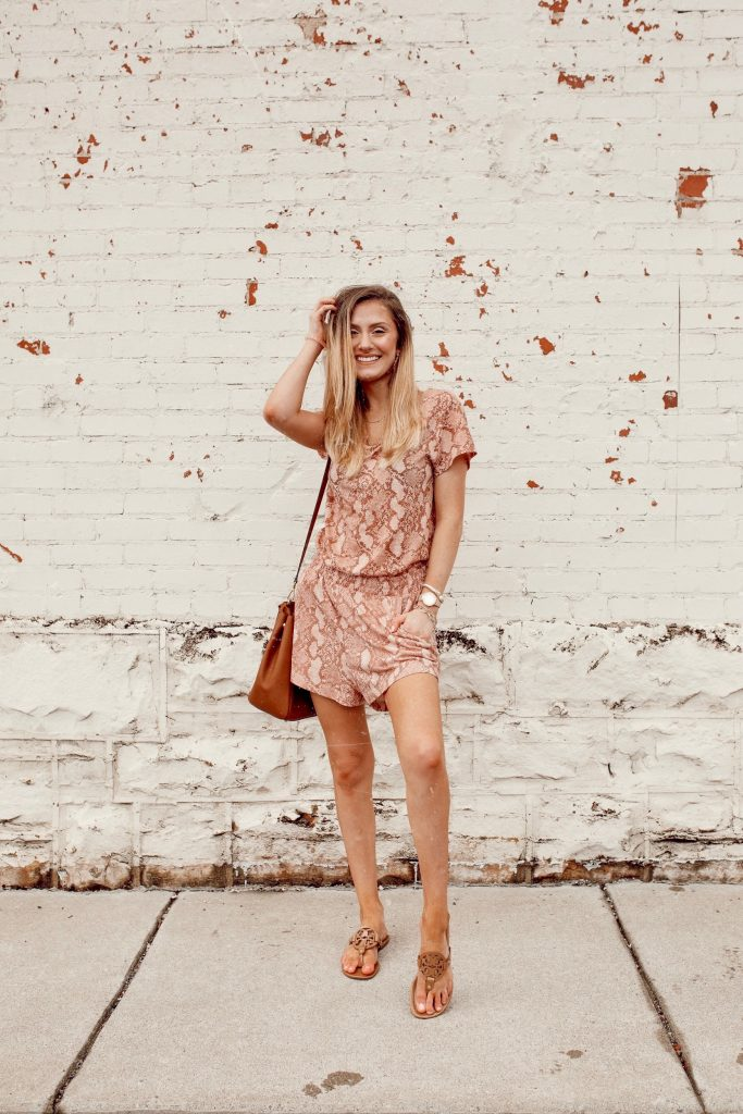 Pink Snake Print H&M Outfit With Personalized Initial Jewelry by North Carolina fashion and lifestyle blogger Jessica Linn.