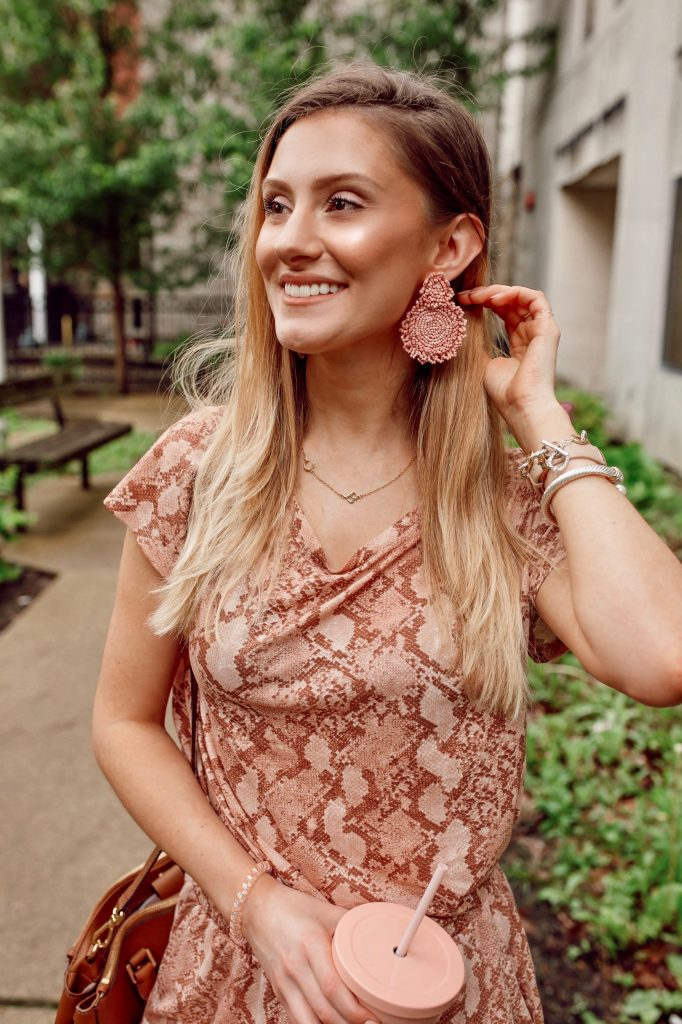 Pink Snake Print H&M Outfit With Personalized Initial Jewelry by North Carolina fashion and lifestyle blogger Jessica Linn. oNecklace Sideways initial necklace.
