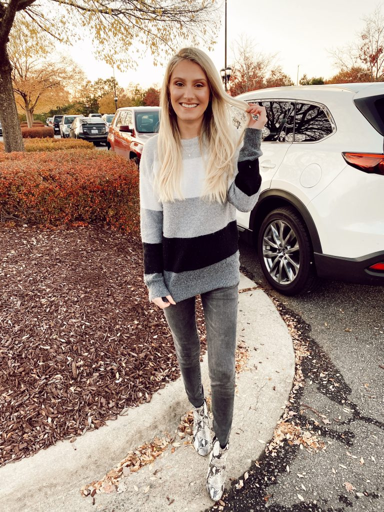 Winter Maternity Fashion Tips by Jessica Linn | Linn Style | Gray sweater from Walmart, maternity jeans from Target, Snake skin print boots from Walmart