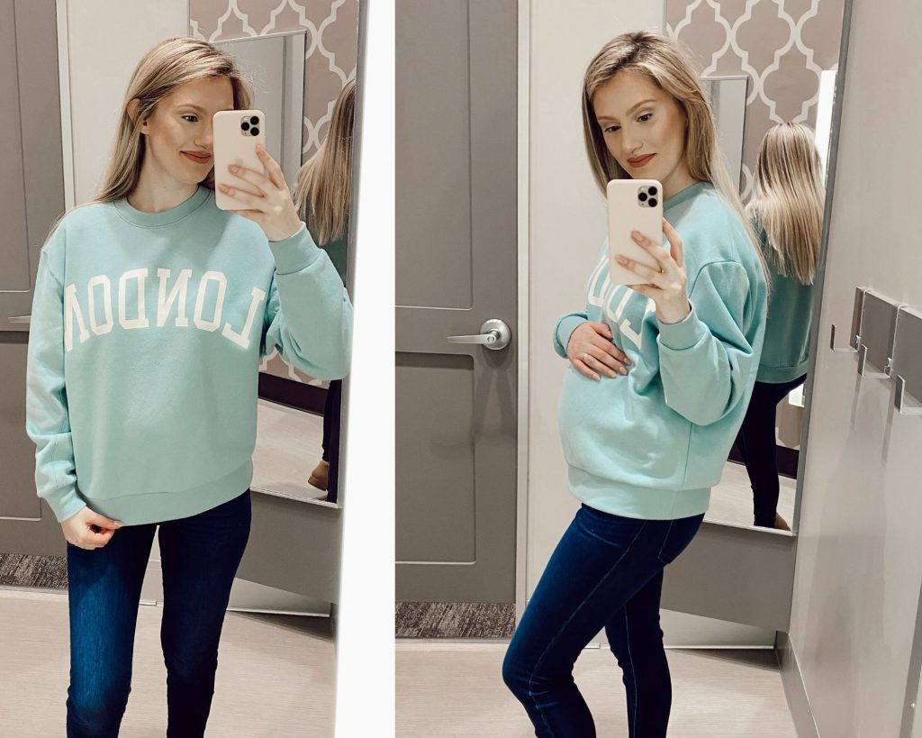 Wild Fable Oversized Crewneck Sweatshirt London Graphic Teal Blush $20 Target Sweater Try-on by Jessica Linn
