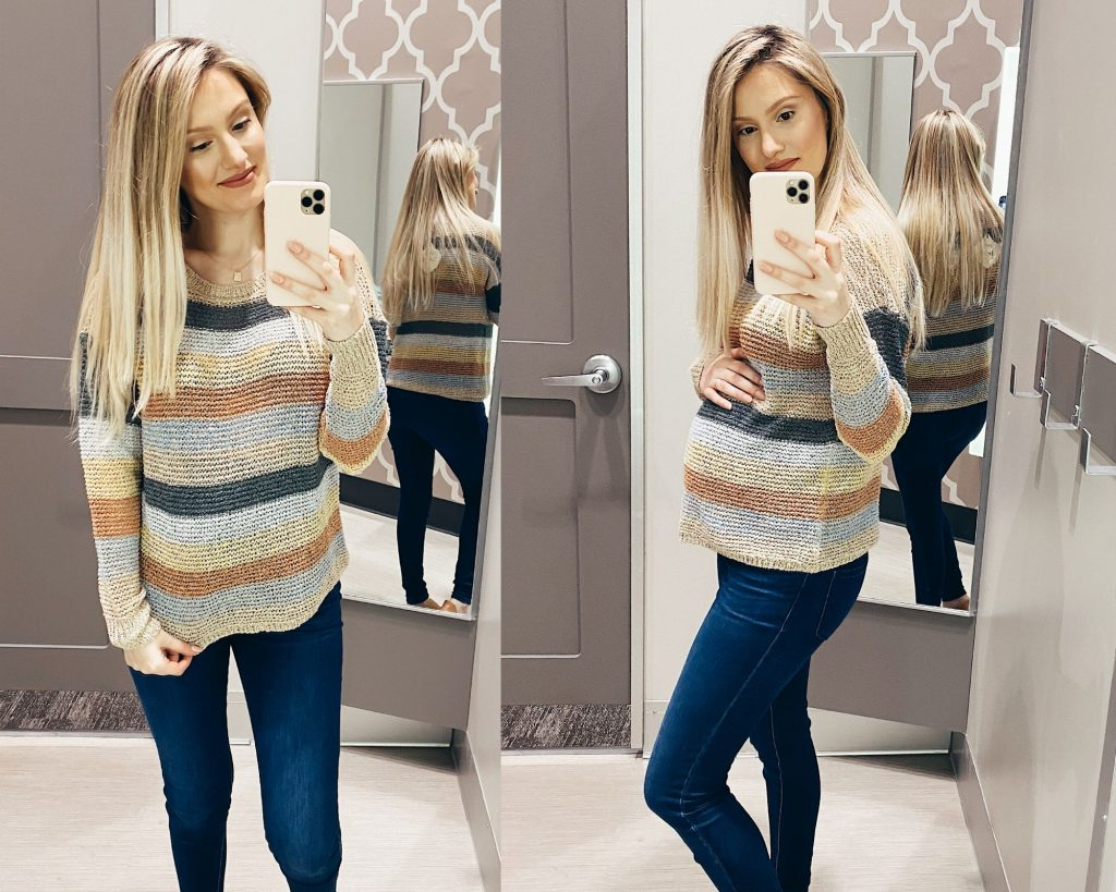Knox Rose Striped Crewneck Pullover Sweater in Oatmeal $29.99 Target Sweater Try-on and Review By Jessica Linn