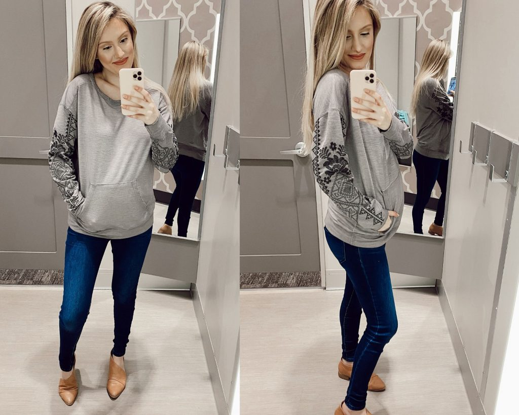 Knox Rose Crewneck Sweatshirt in Gray $29.99 Non-maternity sweatshirt try-on while pregnant with Jessica Linn