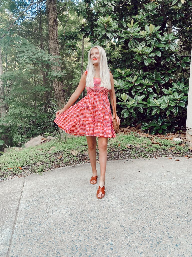 Summer Dresses Under $25! | Linn Style By Jessica Linn | fashion blogger Jessica Linn Pagán wearing a red checkered gingham cami dress from Shein.