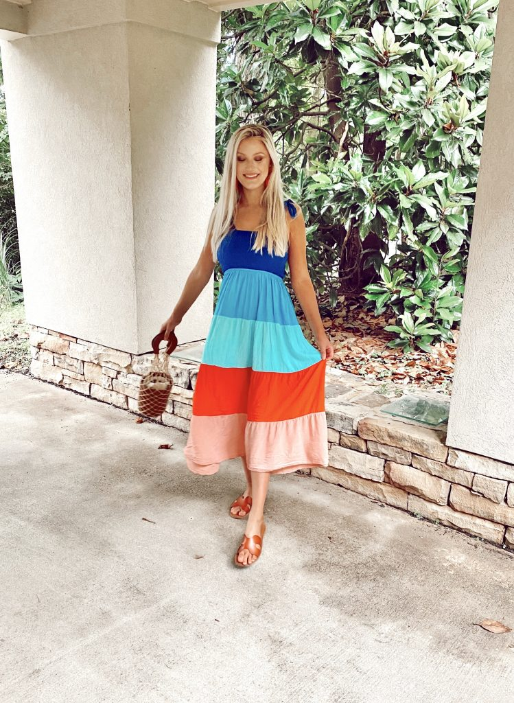Tie Shoulder Dresses For Summer | by North Carolina fashion blogger Jessica Linn Rainbow shirred cut and sew cami tie shoulder dress from Shein