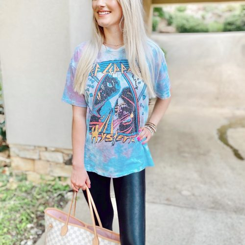 Graphic Tees You Need In Your Closet! Linn Style by Jessica Linn. North Carolina fashion blogger Jessica Linn is wearing a tie dye Def Leppard graphic t shirt from Target and Spanx Faux Leather Legging. Casual affordable outfit