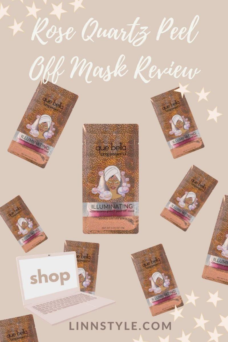 Que Bella Rose Quartz Glitter Peel Off Mask Review | Linn Style by Jessica Linn