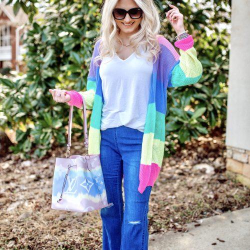 New Amazon Fashion Favorites! | Linn Style by Jessica Linn | Pastel Knit Cardigan, Flare Denim