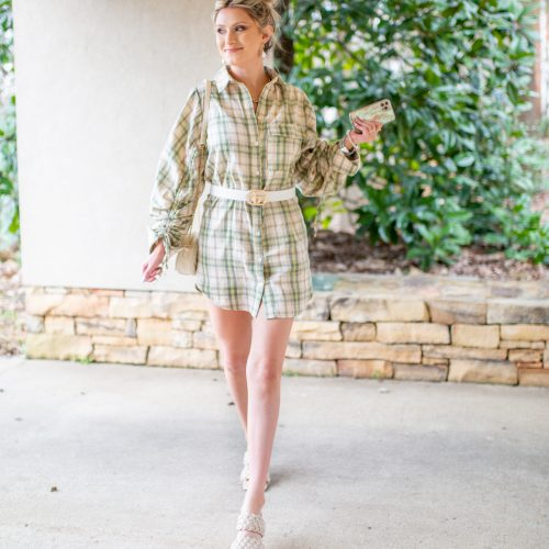 Green Plaid Ruched Sleeve Dress style with nude woven square toe mules, white quilted purse.