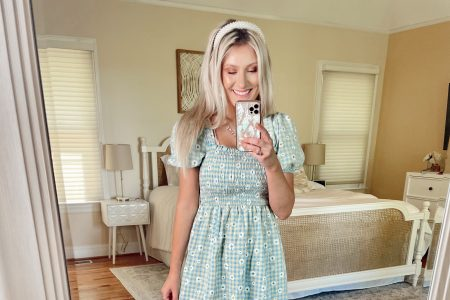Missguided Haul + Review + Try-On | by Jessica Linn | blue and yellow gingham floral print smocked dress