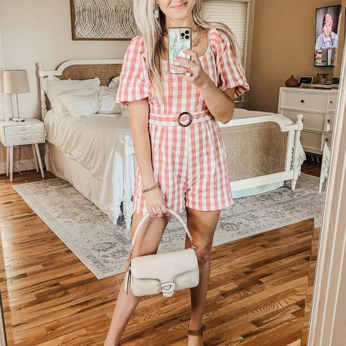 Missguided & Boohoo Try On Haul + Review | Rompers & Dresses by Jessica Linn Pink gingham belted romper from Missguided