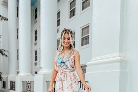 What I Wore To The Greenbrier In May by Jessica Linn wearing a pastel pink and blue floral print maxi dress with ruffles from Copper Bloom online womens boutique
