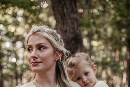 Mother daughter photoshoot wearing Ivy City Co woodland fairy dress and Rellery jewelry