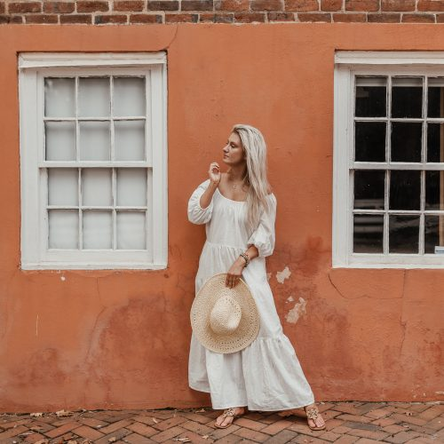 white maxi dress and yellow sun hat summer outfit from Target. by North Carolina fashion blogger Jessica Linn pictures by Joel Pagan